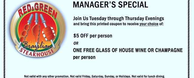 Manager's Special Coupon